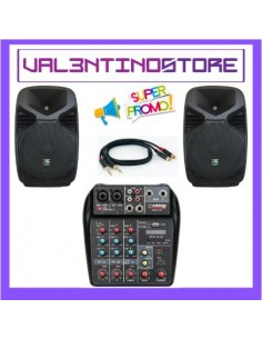 Kit Karaoke 2 casse 350w + cavi + mixer con effetti voce e player USB SD Bluetooth