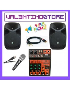 Kit Karaoke 2 casse amplificate+cavi+mixer con effetti e player usb/sd/bluetooth